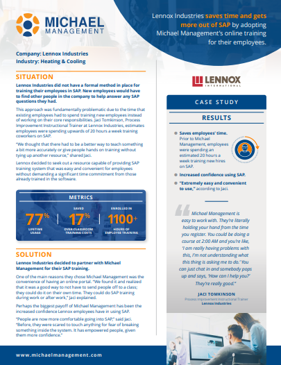 SAP training success story from lennox