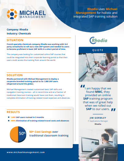 SAP training success story from rhodia
