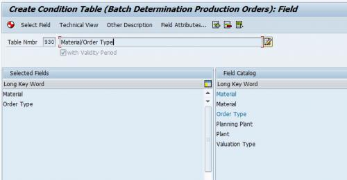 Batch Condition Table for Production Order