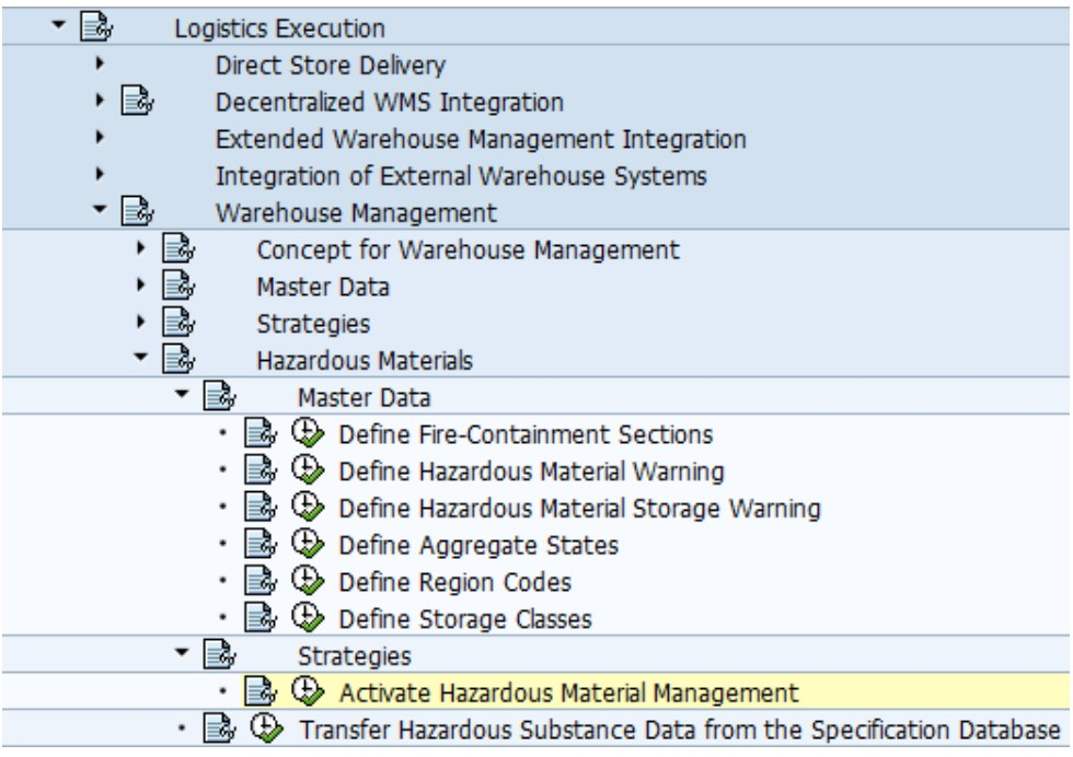 SAP hazardous material configuration