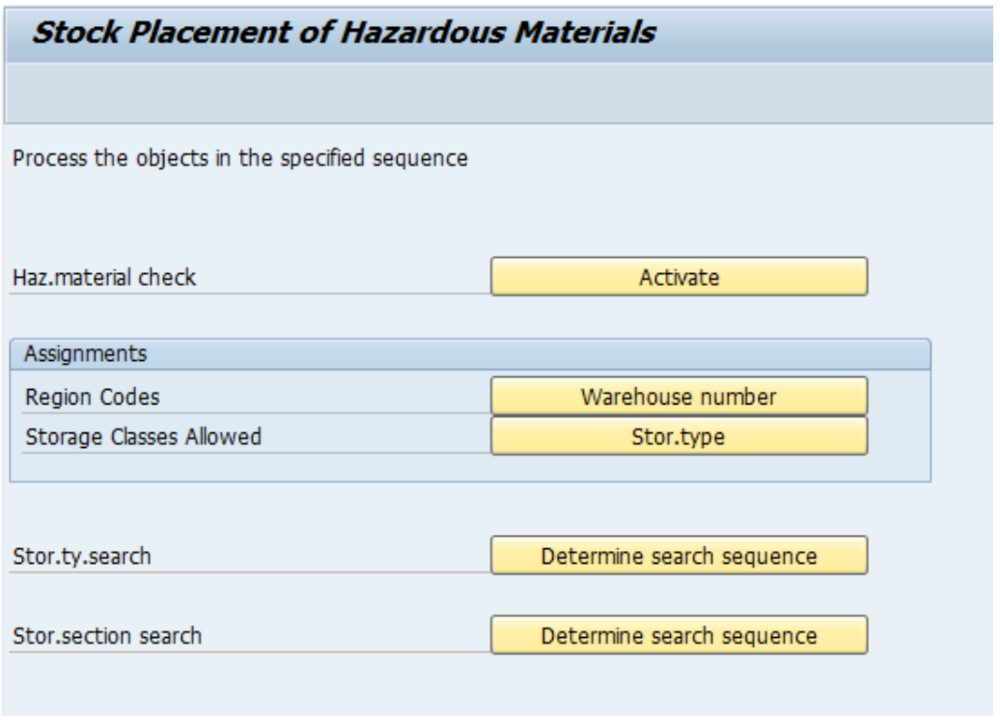 SAP stock placement of hazardous materials