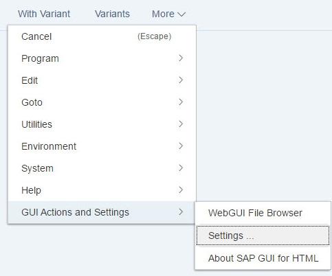 SAP Web GUI settings