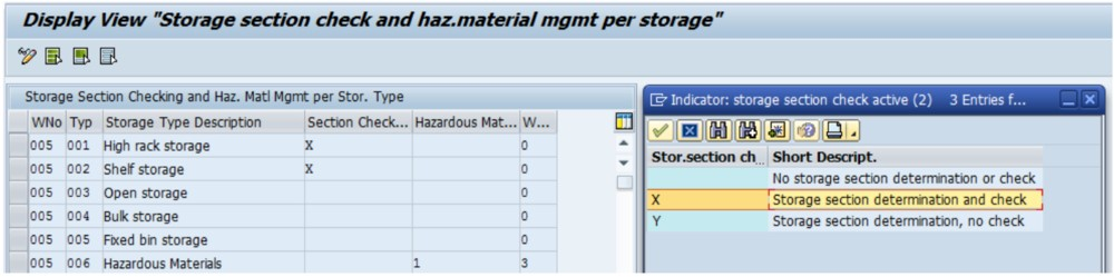 Storage section search configuration