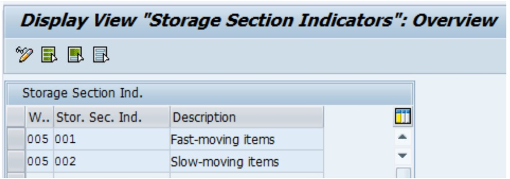 Storage section indicators