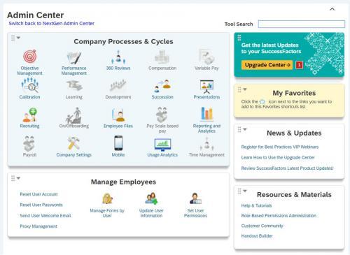 SAP SuccessFactors Admin Center